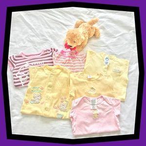 Newborn 0-3 mo Pink & Yellow Onsies-Lot of 6